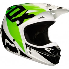 Fox 2018 V1 Race Helmet White/Black/Green