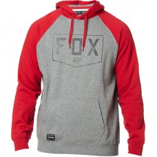 Fox 2020 Shield Raglan Pullover Hoodie Heather Graphite/Red SALE SAVE £13