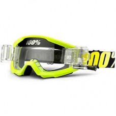 100% Strata Goggles/Roll Offs Neon Yellow